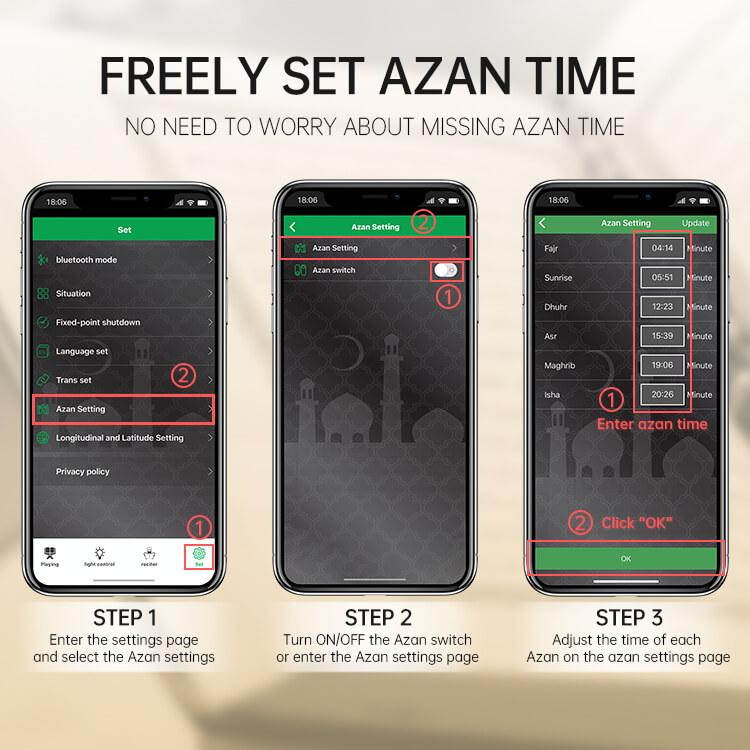 Touch Lamp Azan Clock Quran Cube Speaker QB303